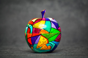 contemporary art, modern art. colorful wooden Apple. decorative fruit. Apple painted colors manually, handmade craft
