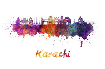Wall Mural - Karachi skyline in watercolor