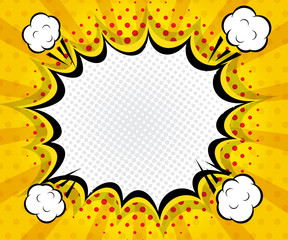 abstract boom blank speech bubble pop art, comic book on yellow background
