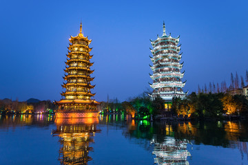 Stores photo Guilin Sun and Moon Pagodas in downtown of Guilin, Guangxi Province, Ch