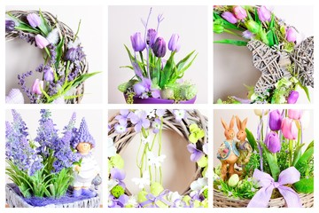 Photo collage of Easter homemade decoration with spring arrangement. Homemade arrangement. Photo collage.