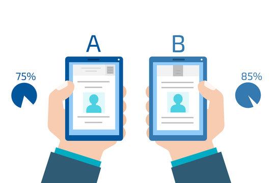 A-B comparison. Split testing. Concept computer vector illustrat