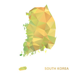 polygonal south korea map, polygon abstract map, isolated vector