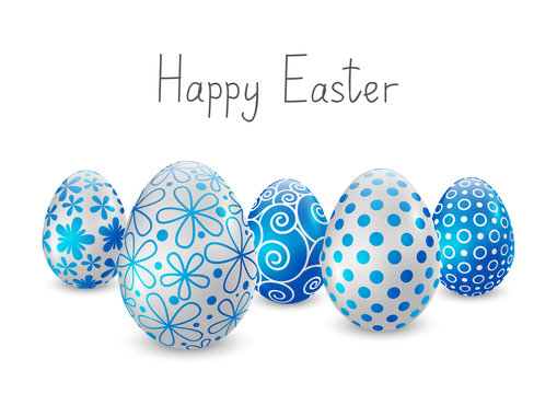 Easter eggs with blue and white pattern