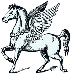 Engraving illustration of Pegasus