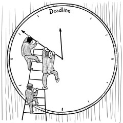 Deadline. Vector illustration on business theme with businessmen and big clock
