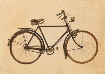 Retro styled image of an old rusty bicycle