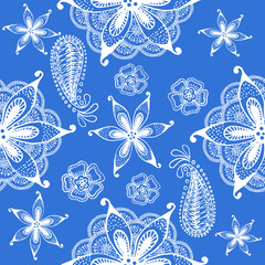 Seamless indian pattern on a blue background. Hand drawn doodles. Vector.