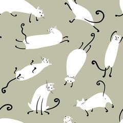 Doodle cartoon Cats seamless background