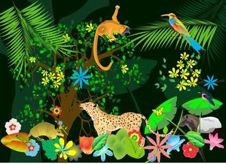 Jungle scene vector illustration, monkey,leopard jaguar, exotic animals and plants.