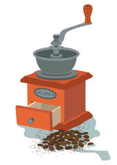 Coffee mill vector illustration, isolated on white background. EPS 10.