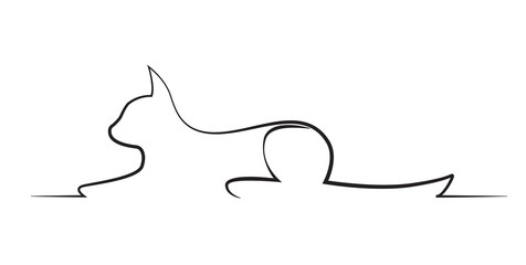 Silhouette of a cat lying in the pose of the Sphinx. Isolate on white.