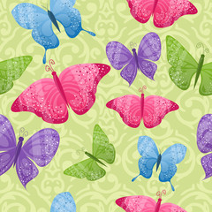 Seamless background with cute shiny colorful butterflies