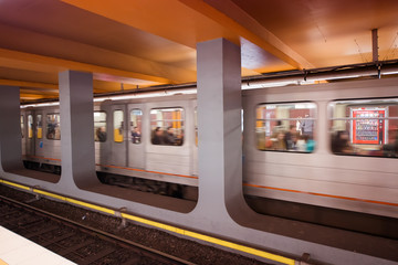 BRUXELLES - MAY 1, 2015: Subway station interior. The subway sys