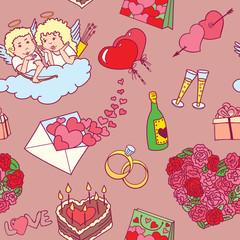 Vector valentine's doodles pattern background