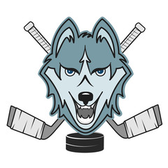 Modern professional wolf  logo for a club or sport team  hockey