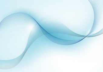 Blue Abstract Wave Lines Background - Illustration, Vector