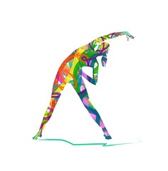 abstract Girls are making exercises. Fitness silhouettes
