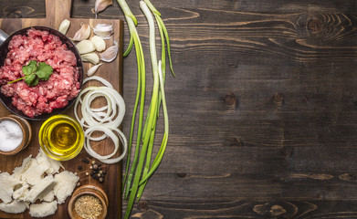 ingredients for homemade burgers with onions and garlic, laid out on a chopping board with a green onions border ,place for text on wooden rustic background top view