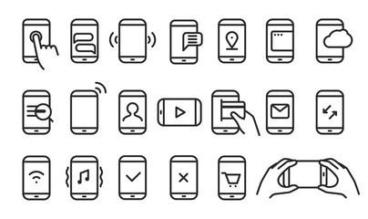 Different variations of holding a modern smartphone. Lineart pic