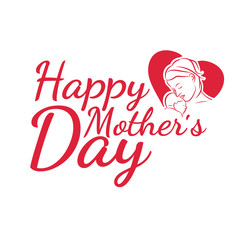 Illustration for Happy Mother Day congratulation card.Vector