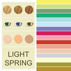 Stock vector seasonal color analysis palette for light spring type. Type of female appearance