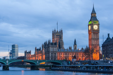Palace of Westminster, Big Ben clock tower and Westminster Bridge in  London Wall mural