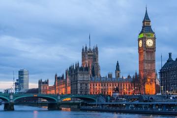 Fotobehang Londen Palace of Westminster, Big Ben clock tower and Westminster Bridge in London
