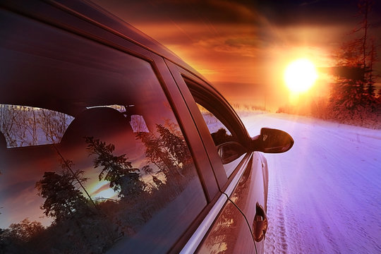 Car winter road snow forest tour
