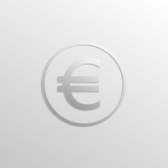 Euro icon with shadow and gradient