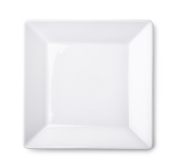 Top view of empty square plate