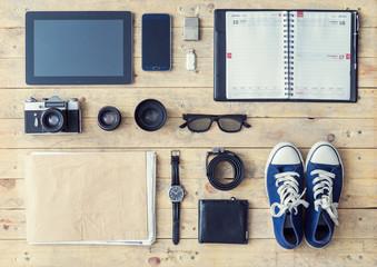 Tablet, phone, album, glasses, camera, lenses, wallet, gumshoes,