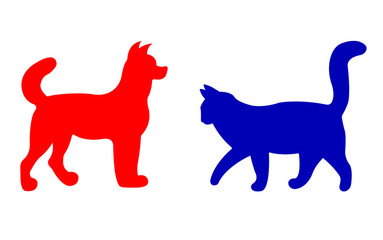 Cat And Dog Silhouettes. Vector EPS 10.