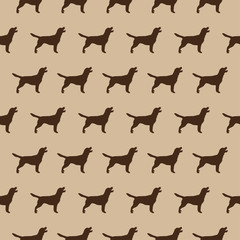 Seamless pattern with dogs silhouette on beige background