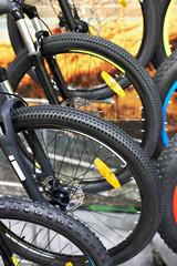 Mountain bikes on bicycle parking