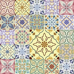 Garden Poster Moroccan Tiles Big set of vector tiles background.