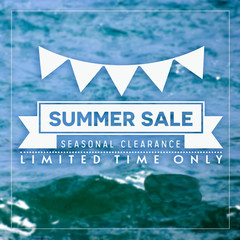 Abstract summer sale poster with sea background.