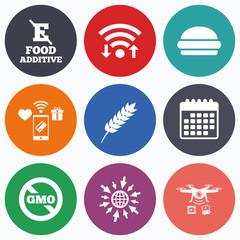 Food additive icon. Hamburger fast food sign.
