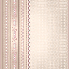 Pink brown vintage seamless border on a light pink background.