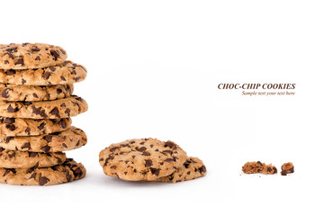 Delicious freshly baked choc chip cookies