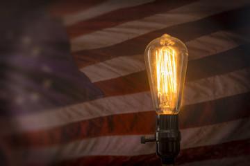 Edison Lightbulb American Flag