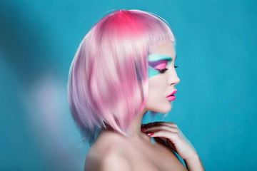 Great Profile of Sexy Girl with Creative Face Art Trendy Makeup and Pink Hairs. Trendy advertisement of sale and shopping