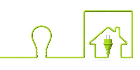 Green power plug house with a light bulb
