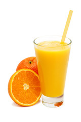 glass of freshly pressed orange juice isolated