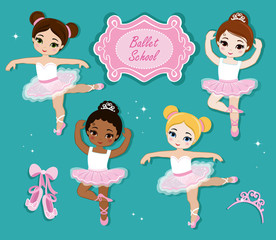 Vector illustration of cute little ballerinas.  Ballet Slippers. Clip art cute characters, pink tutus, ballet shoes.