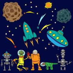 The various space objects, the astronauts, aliens.