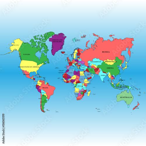 Карта с границами государств