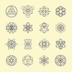Line geometric design symbols and elements.
