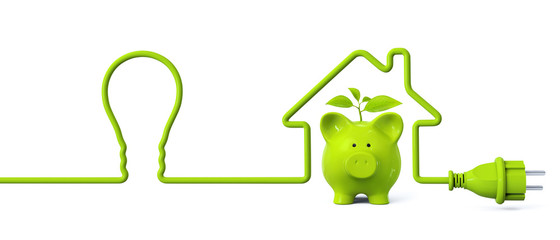 Green power plug - light bulb - house with green piggy bank and plant
