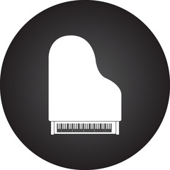 Grand piano simple icon on round background
